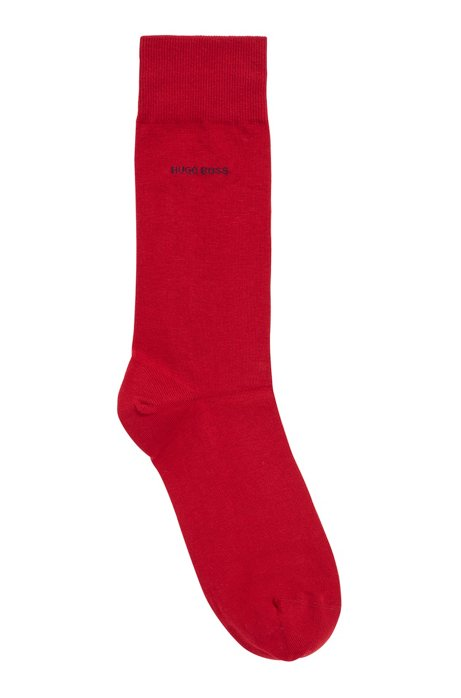 Regular-length socks in combed stretch cotton, Red