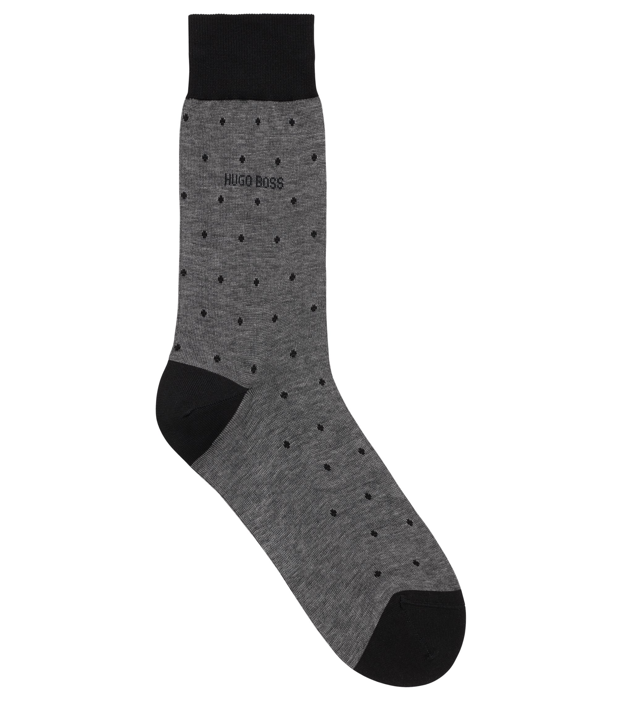 Lightweight socks in mercerised cotton with dot pattern, Black