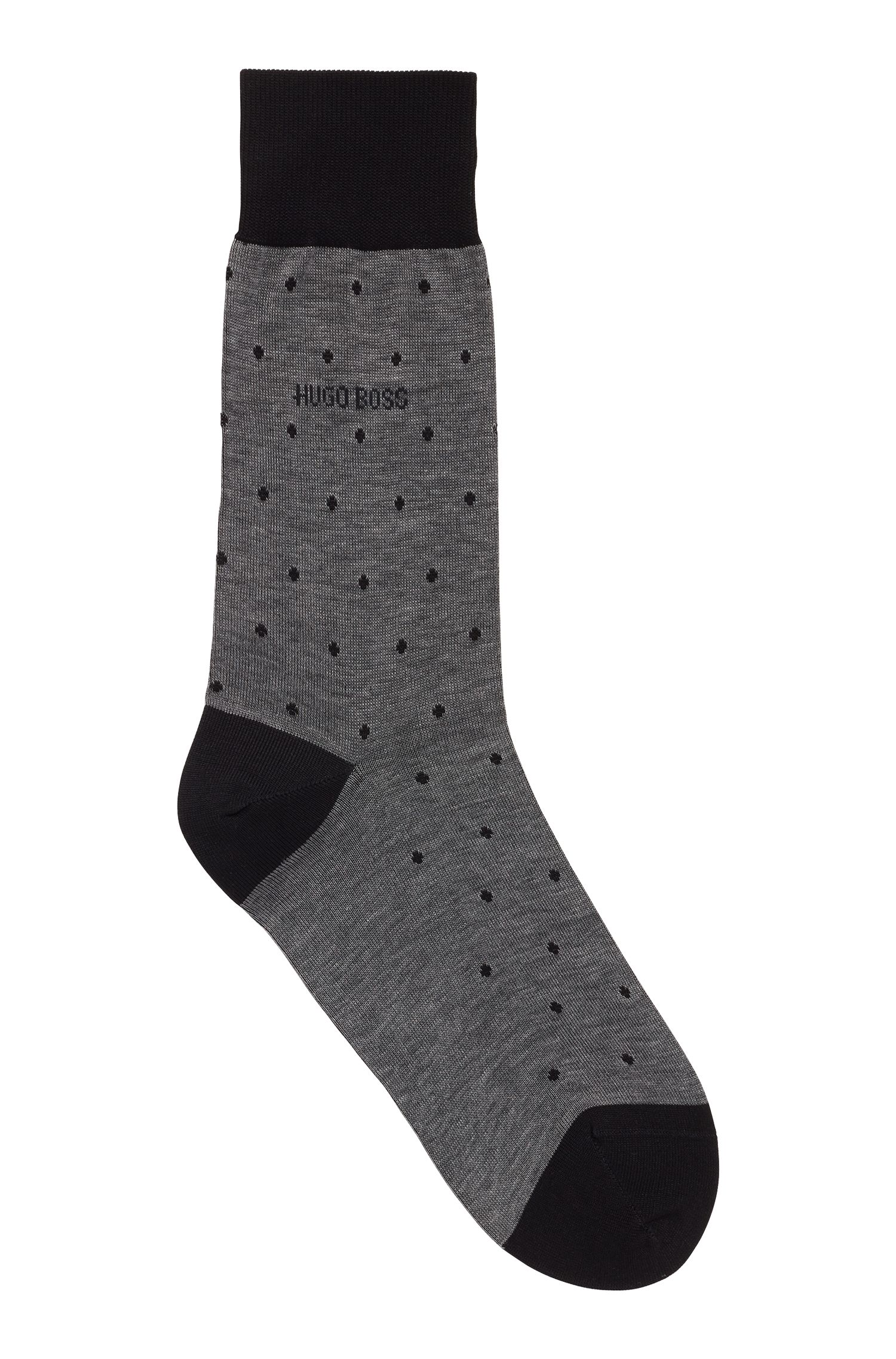 Lightweight socks in mercerised cotton with dot pattern, Grey