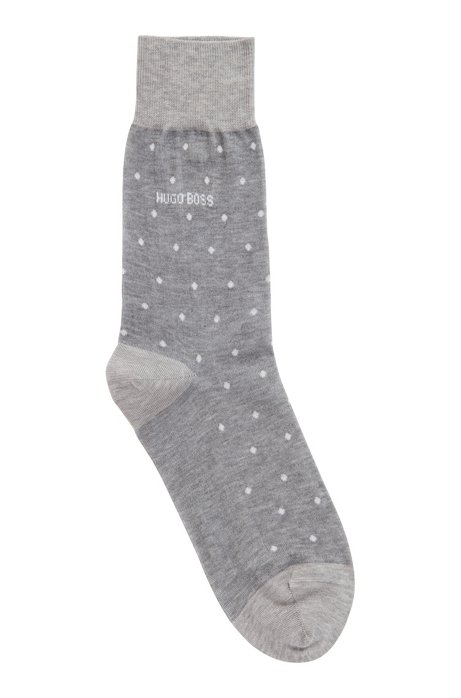 Lichte sokken van gemerceriseerde katoen met stippendessin, Zilver