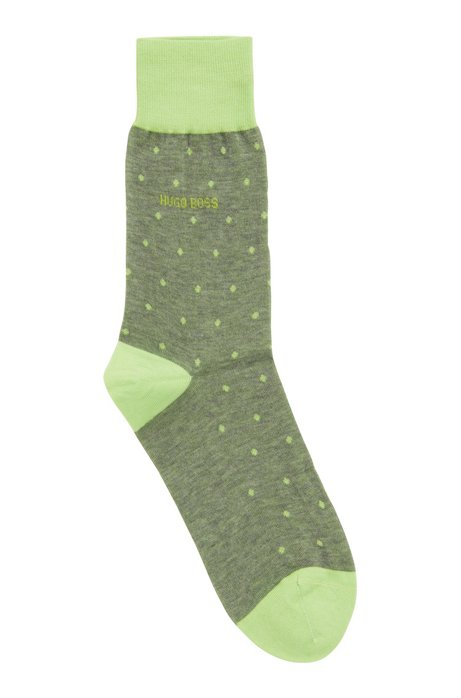 Calze leggere in cotone mercerizzato con motivo a pois, Verde