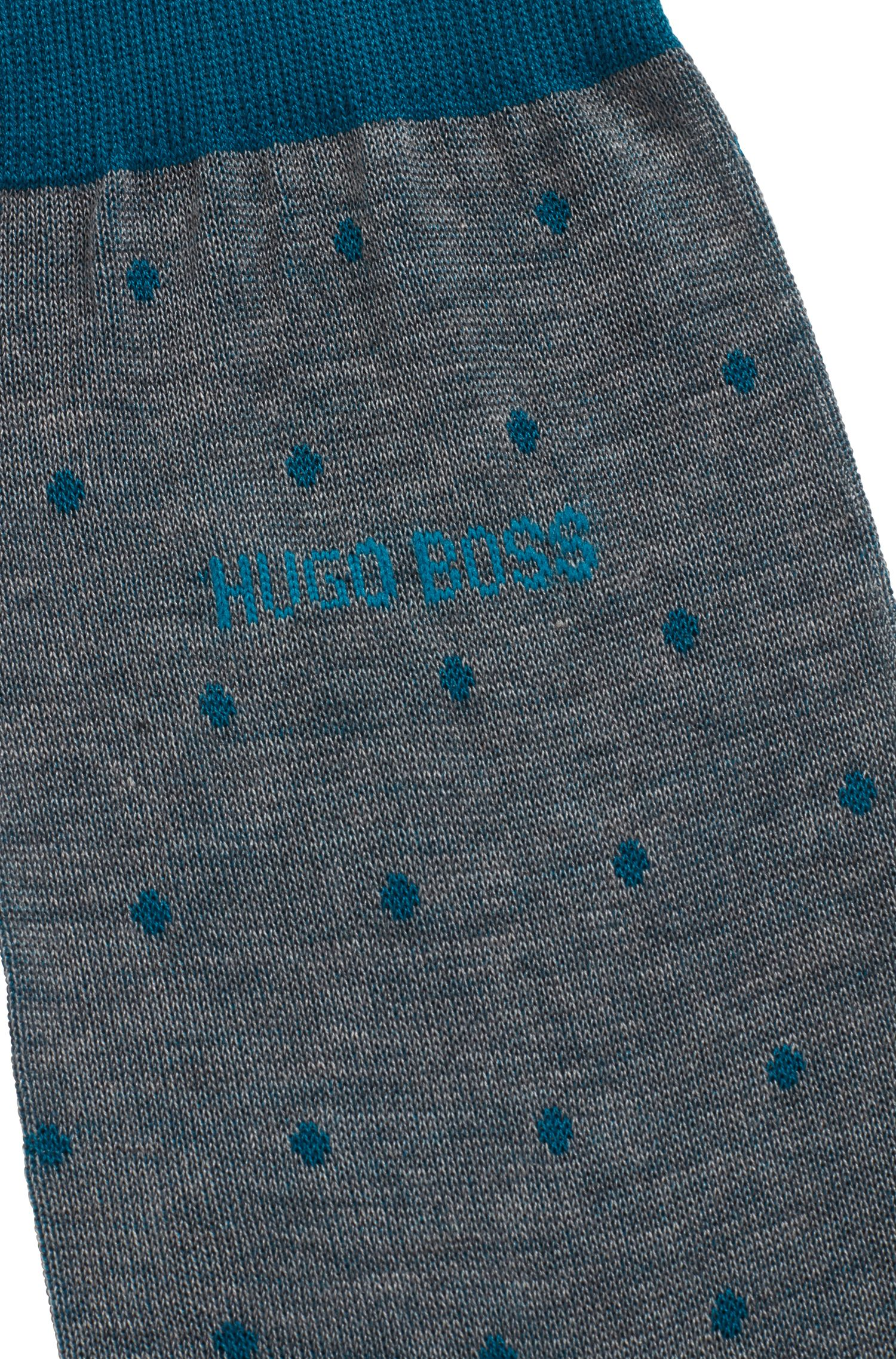 Lightweight socks in mercerised cotton with dot pattern, Open Green