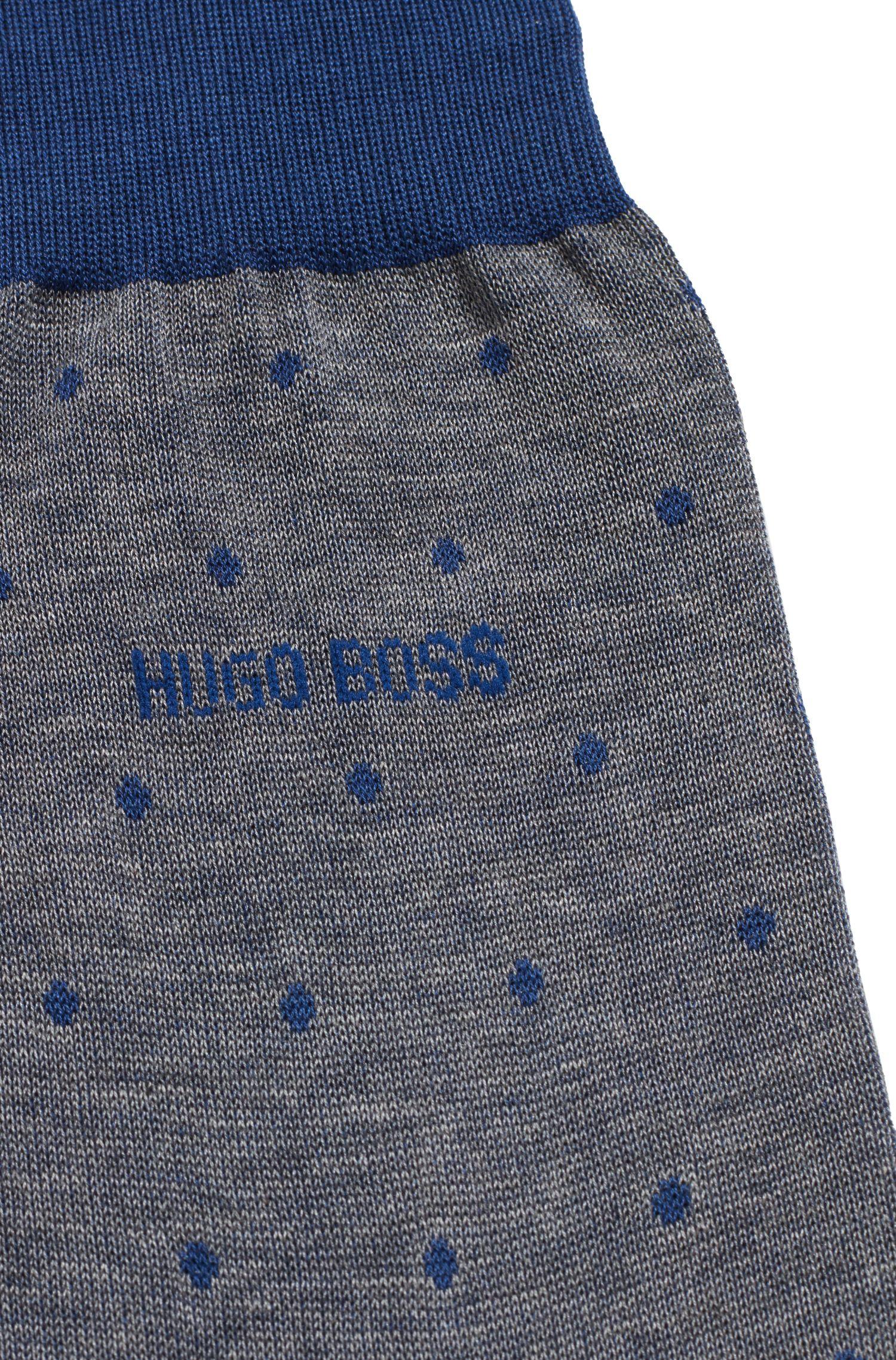 Chaussettes légères en coton mercerisé à pois, Bleu