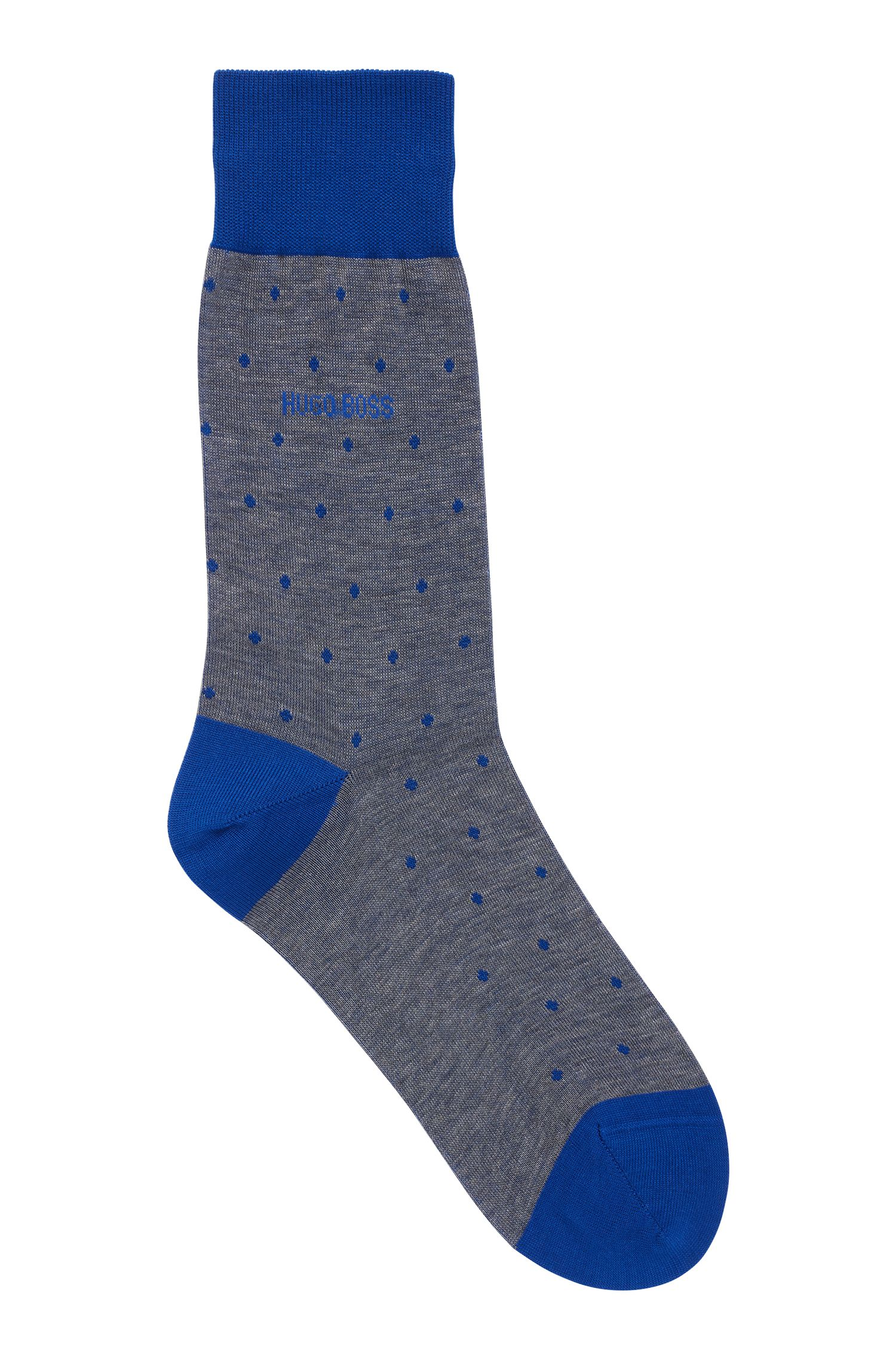 Lightweight socks in mercerised cotton with dot pattern, Blue