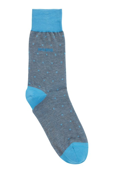 Lightweight socks in mercerised cotton with dot pattern, Turquoise