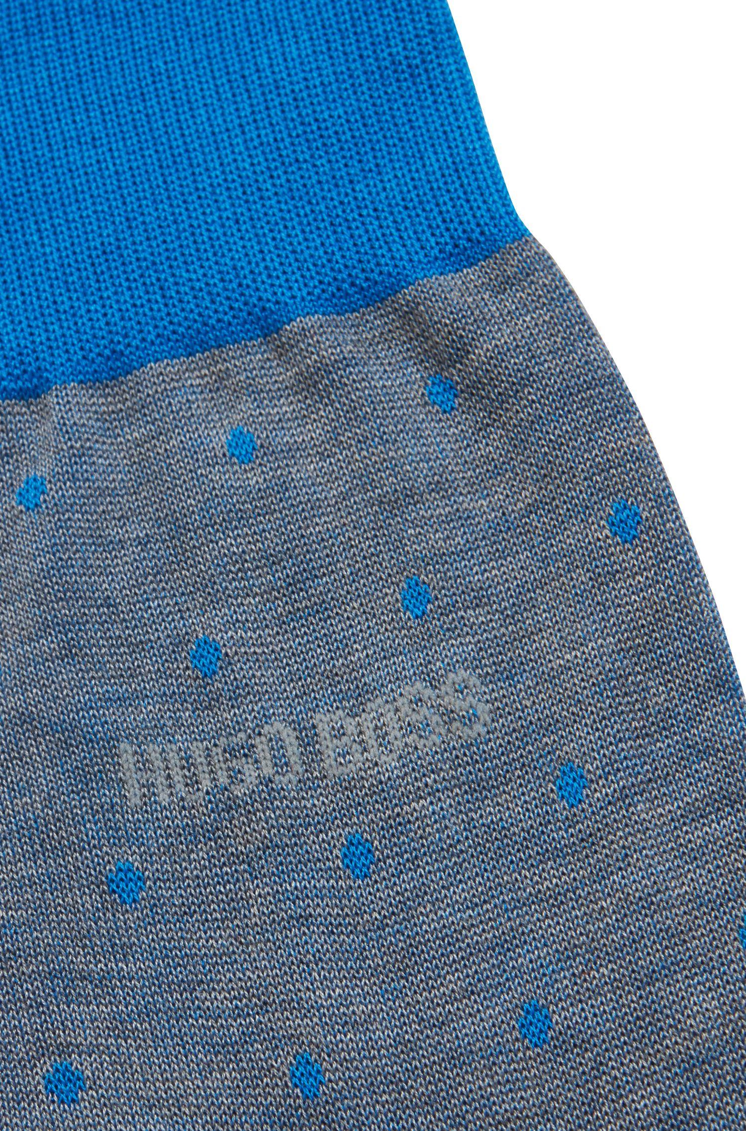 Chaussettes légères en coton mercerisé à pois, Bleu vif