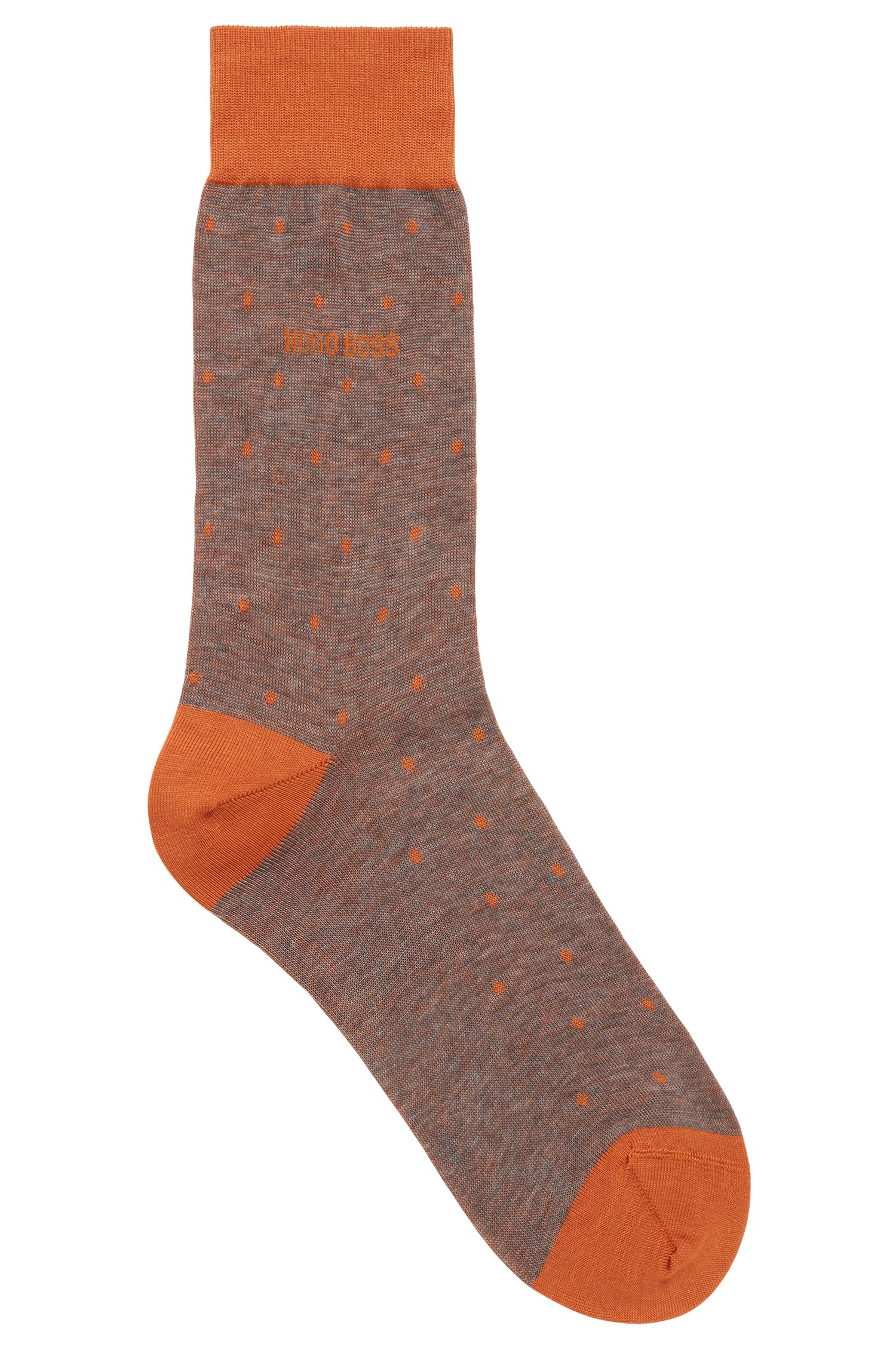 Lightweight socks in mercerised cotton with dot pattern, Dark Yellow