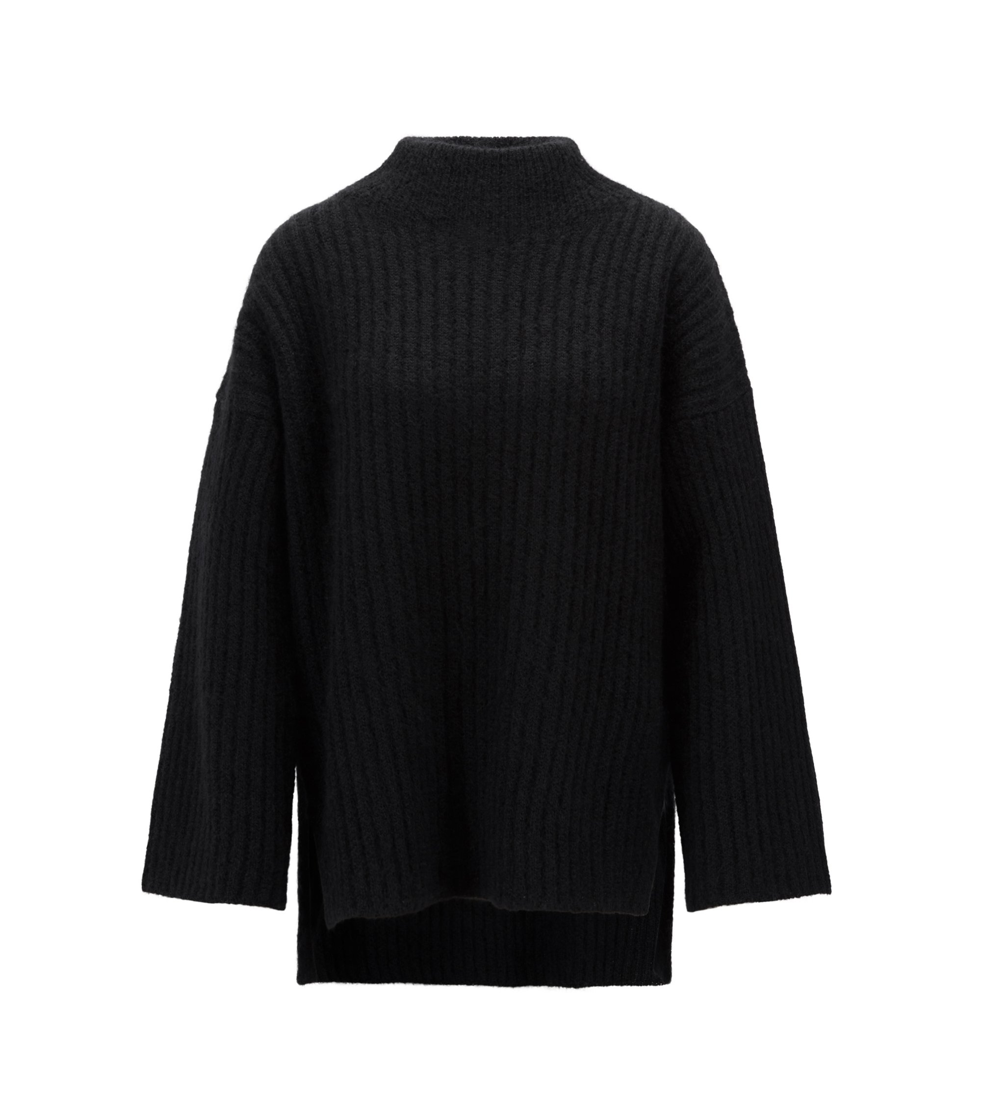 Funnel-neck sweater in an Italian wool blend, Black