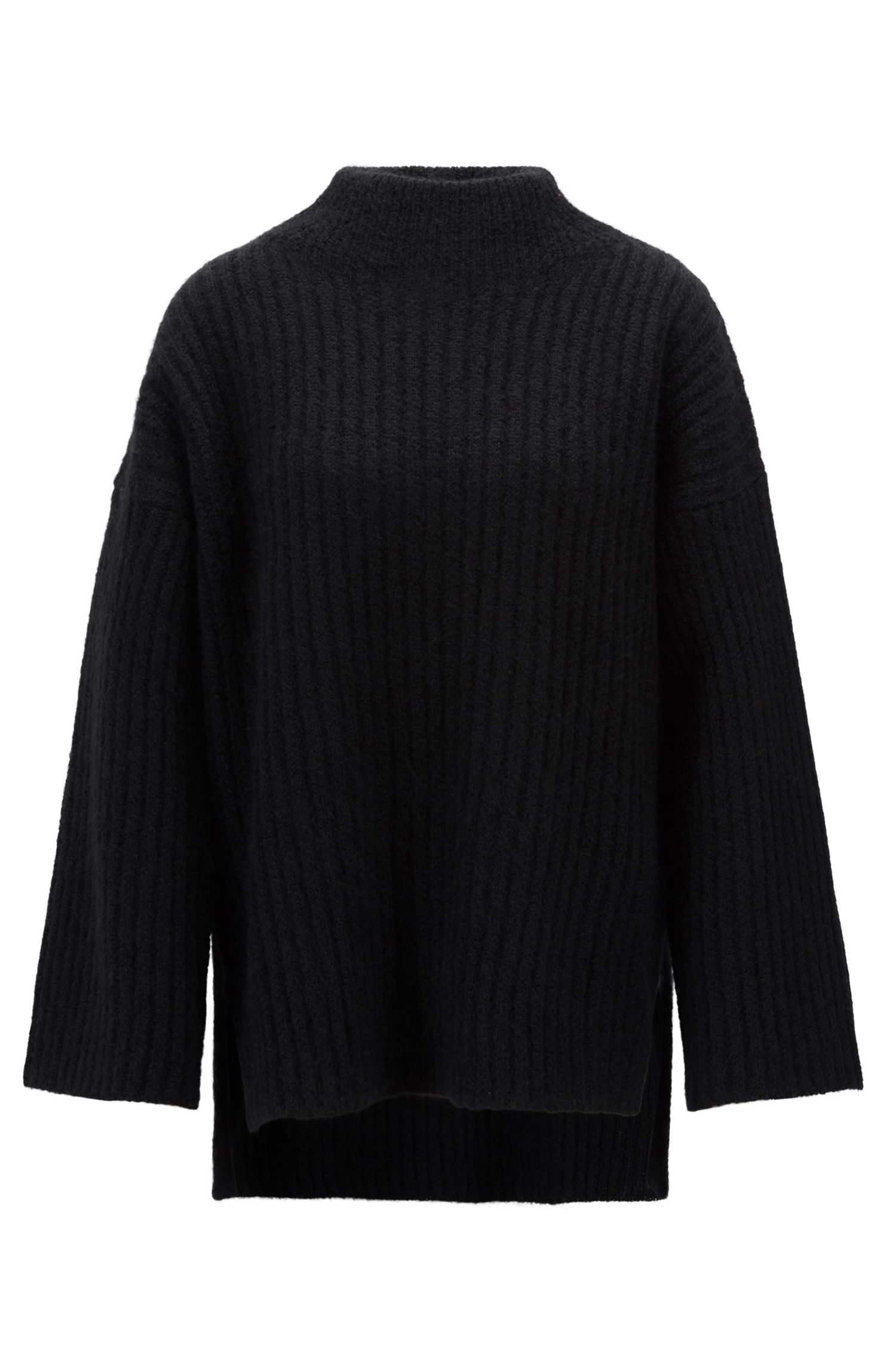 Funnel-neck sweater in an Italian wool blend