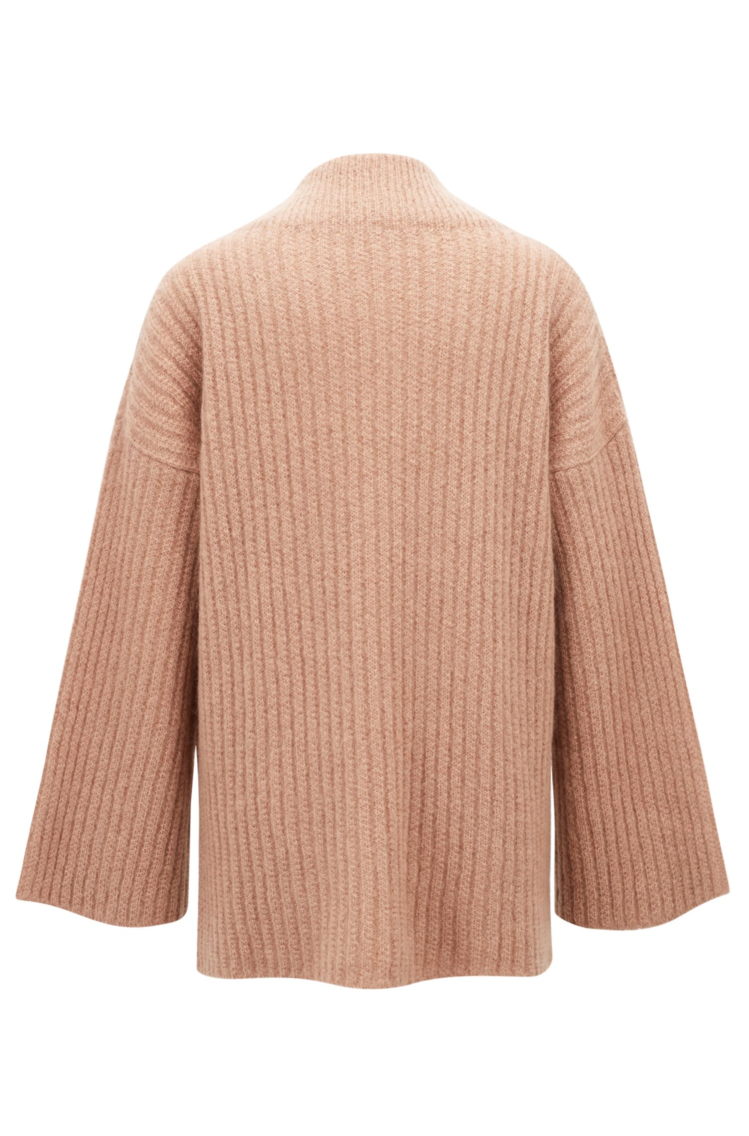 Maglione a collo alto in misto lana realizzato in Italia, Marrone