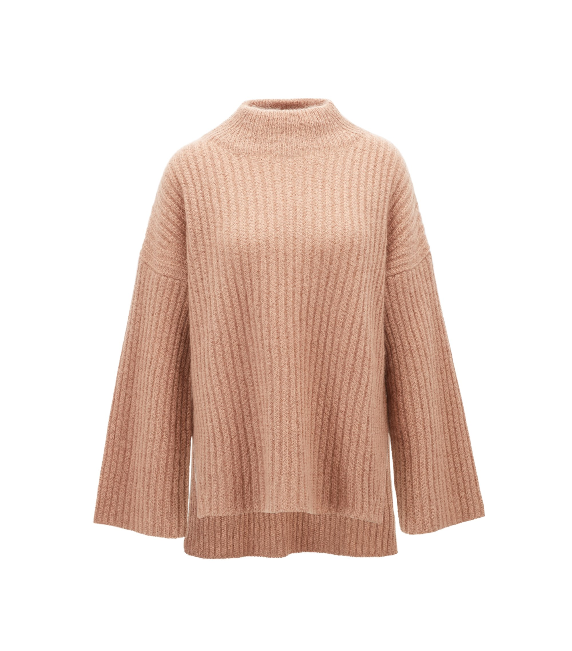 Funnel-neck sweater in an Italian wool blend, Brown