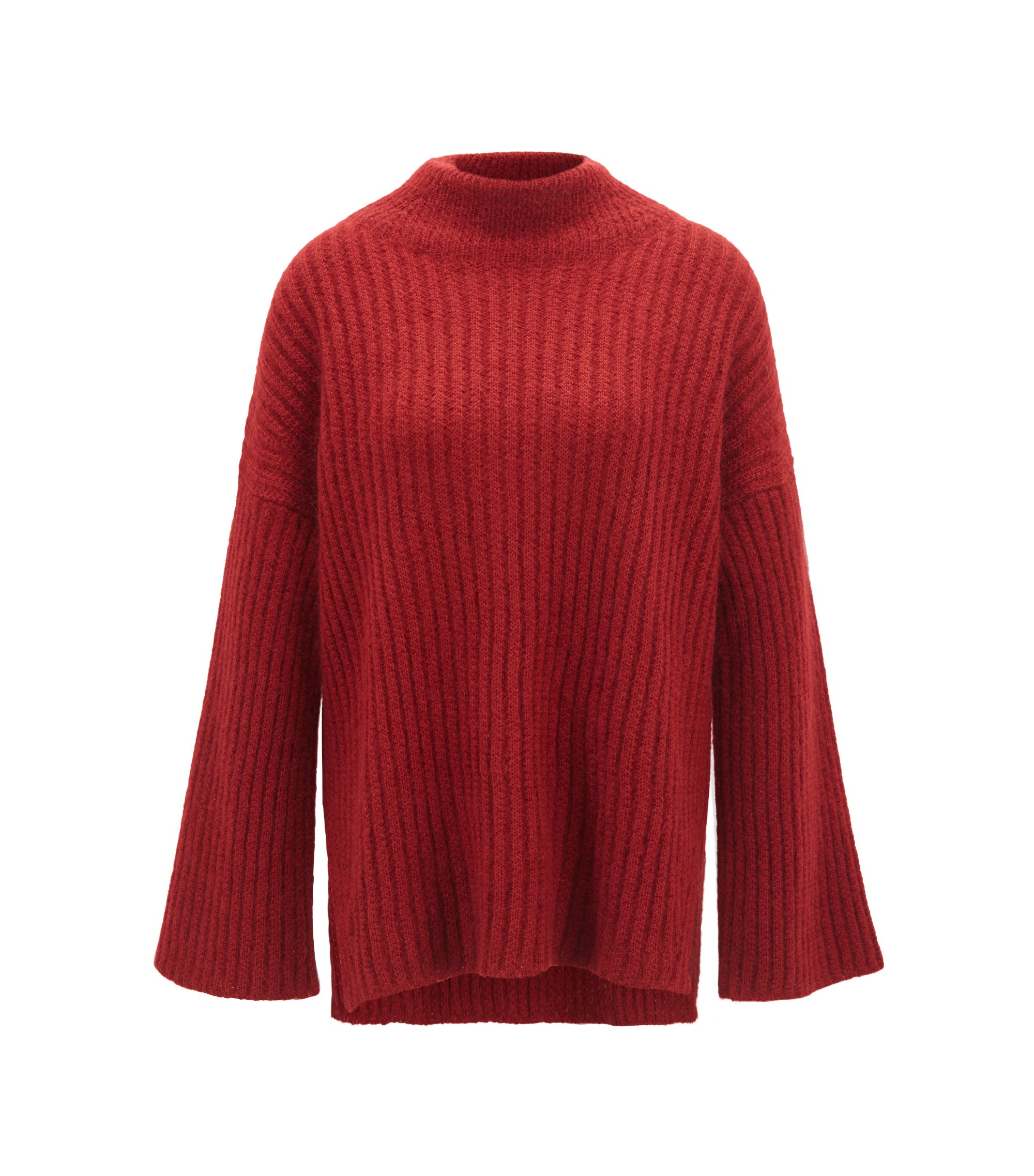 Funnel-neck sweater in an Italian wool blend, Dark Red