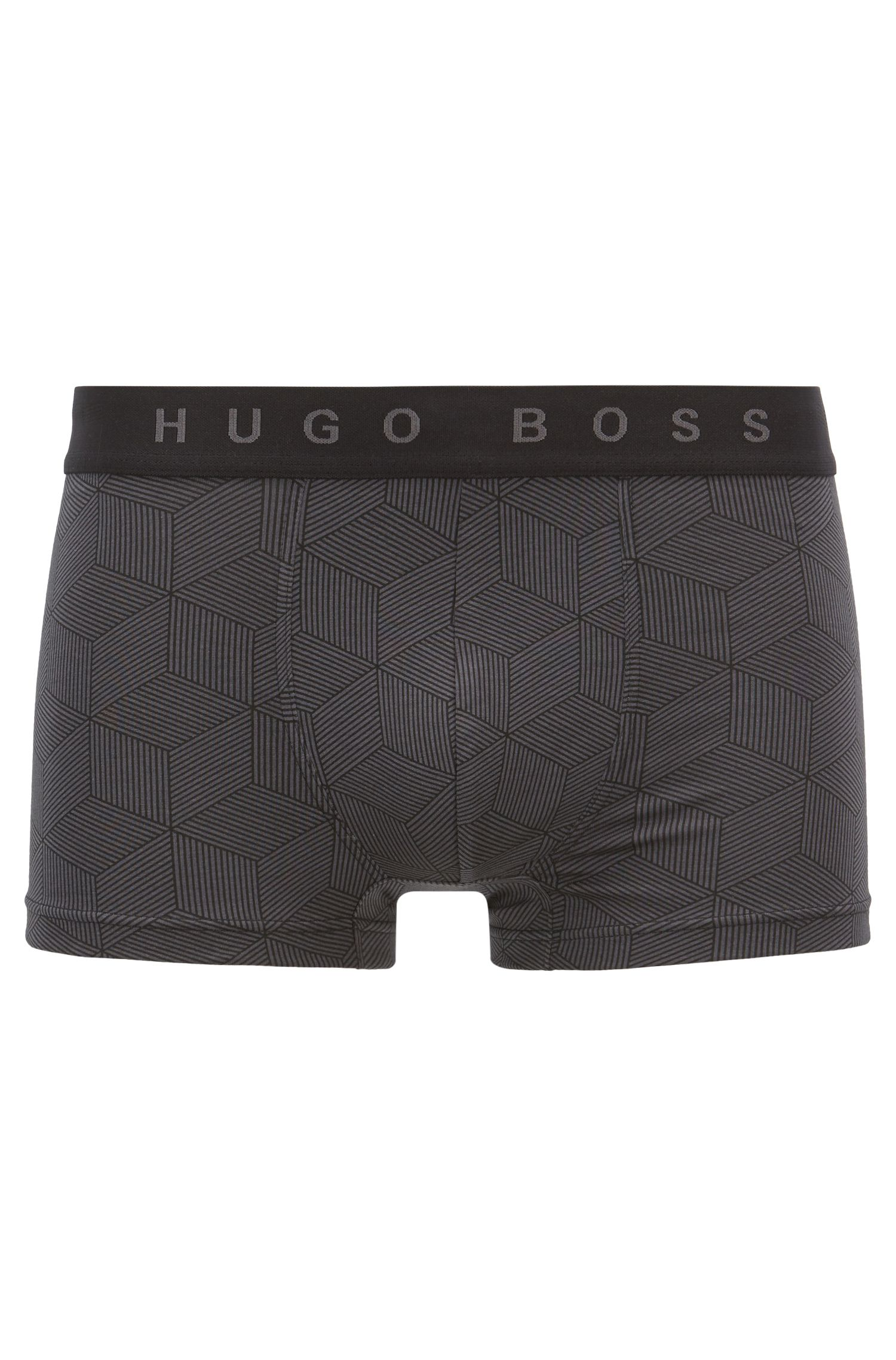 Straight-cut trunks with all-over graphic print, Open Grey