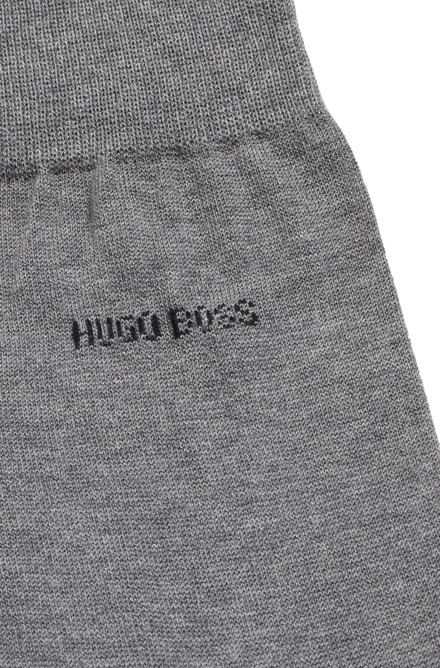 Regular-length socks in mercerised cotton with contrast logo, Grey