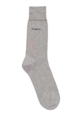 Regular-length socks in mercerised cotton with contrast logo, Silver