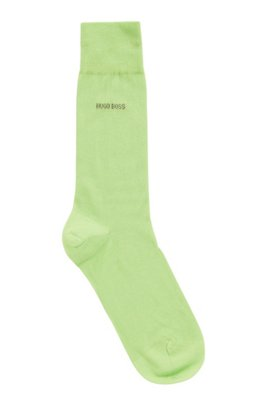 Regular-length socks in mercerised cotton with contrast logo, Green