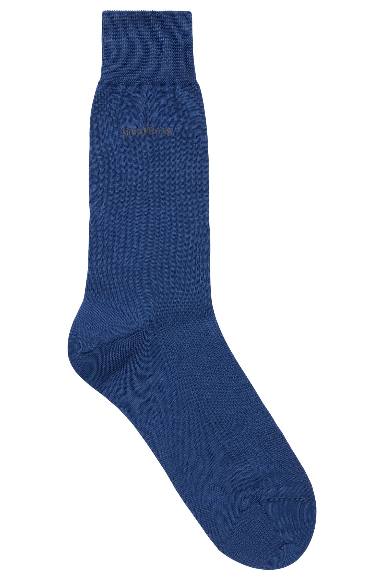 Regular-length socks in mercerised cotton with contrast logo, Blue