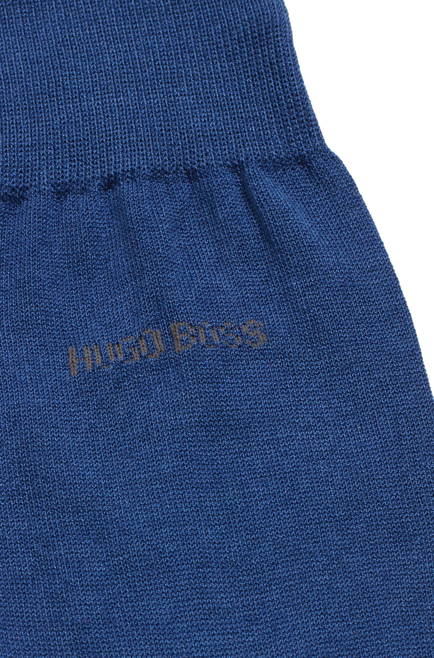 Mittelhohe Socken aus merzerisierter Baumwolle mit Kontrast-Logo, Blau