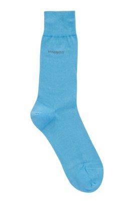 Regular-length socks in mercerised cotton with contrast logo, Turquoise