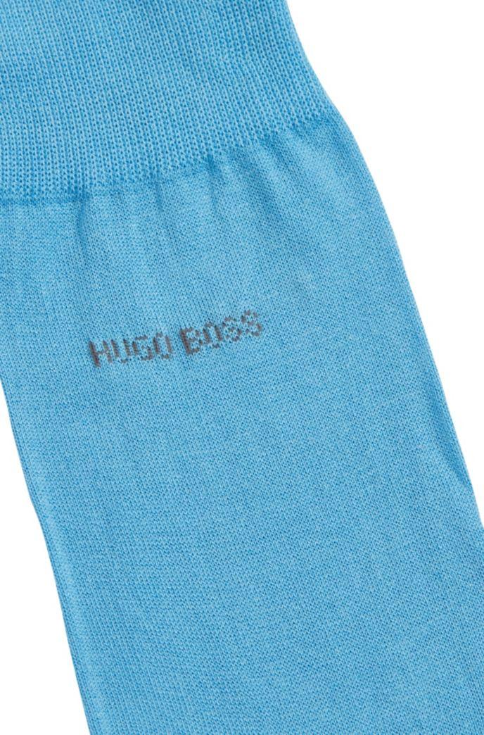 Regular-length socks in mercerised cotton with contrast logo