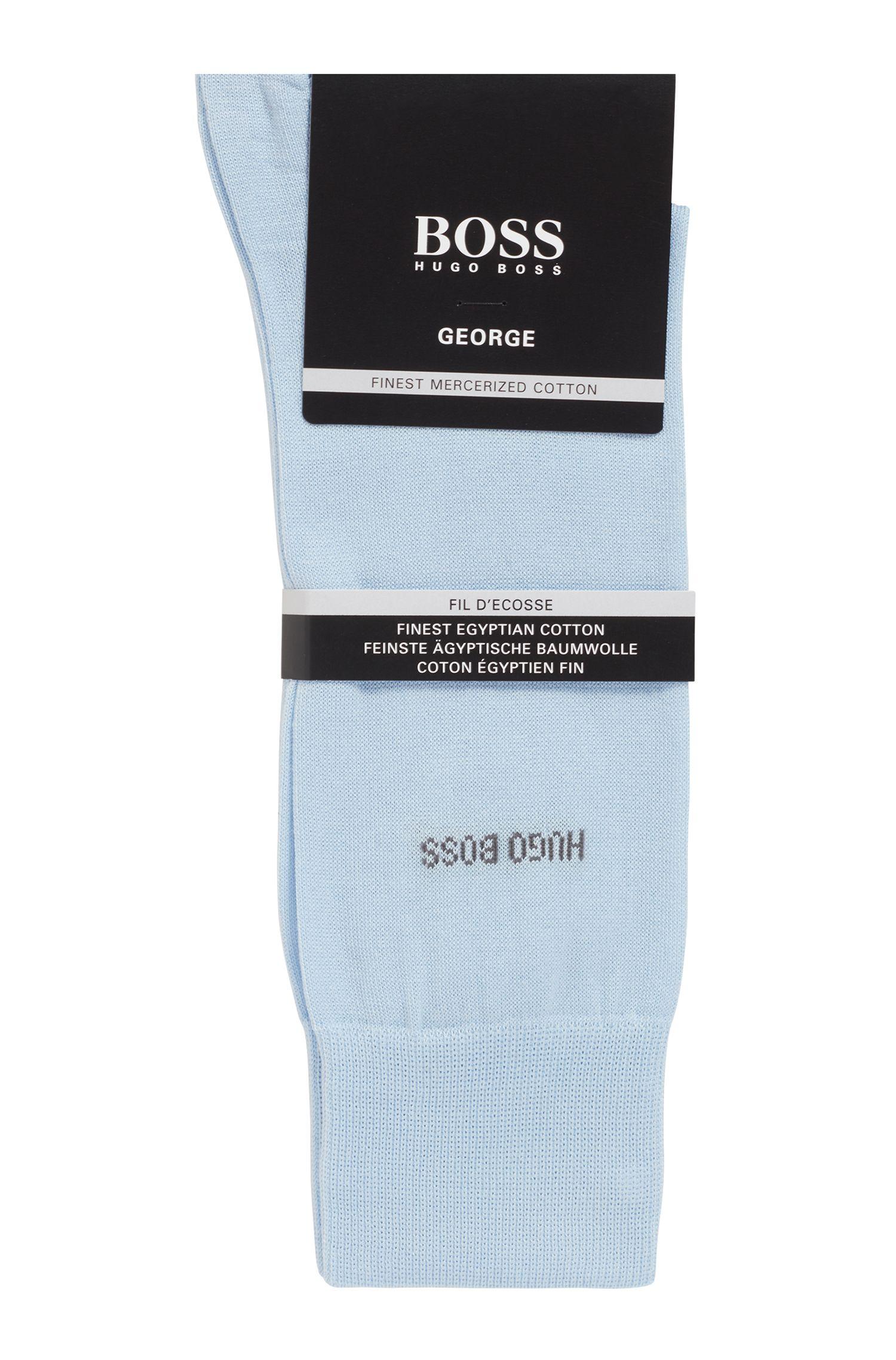 Mittelhohe Socken aus merzerisierter Baumwolle mit Kontrast-Logo, Hellblau