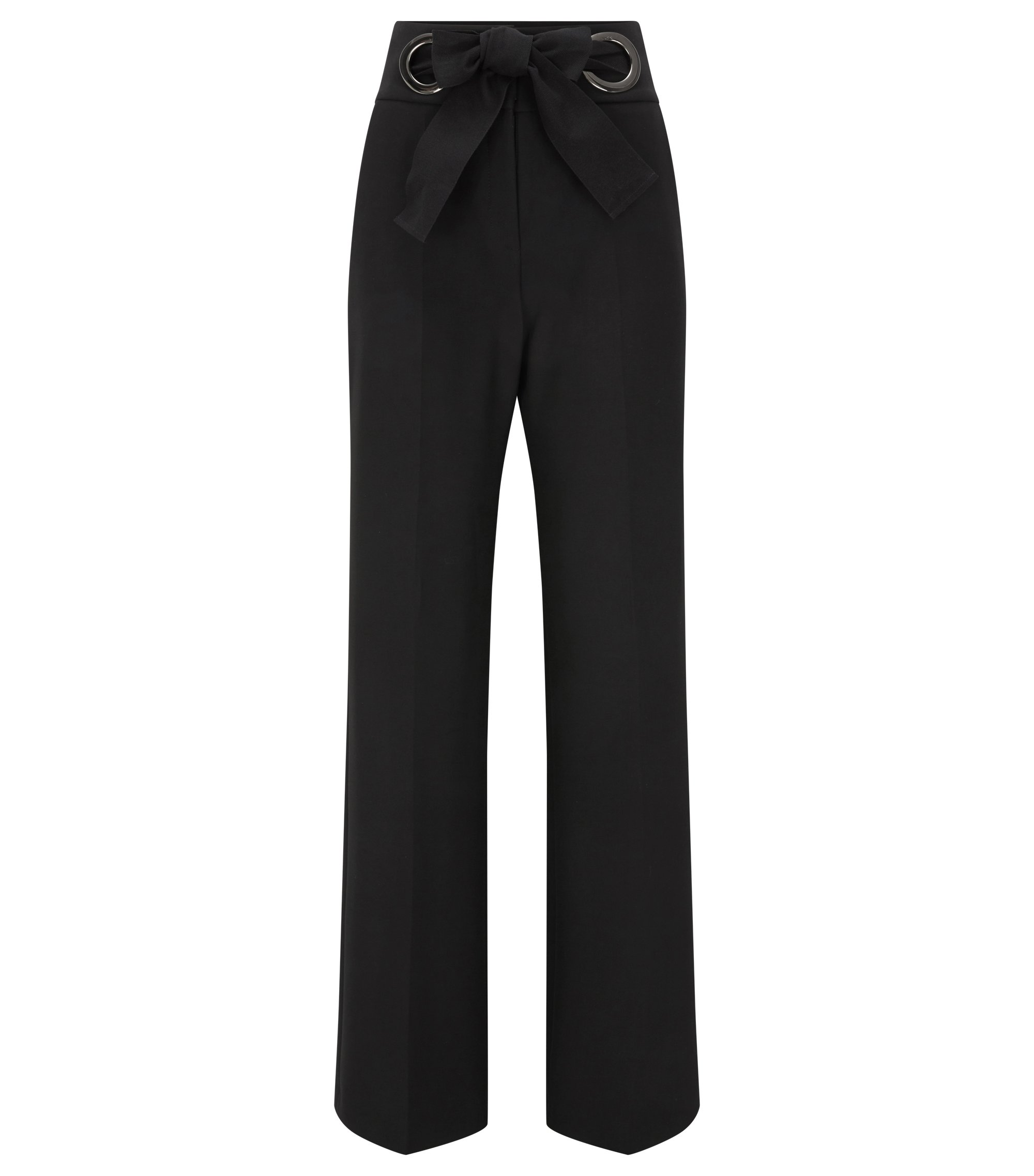 Relaxed-fit trousers with bow closure, Black
