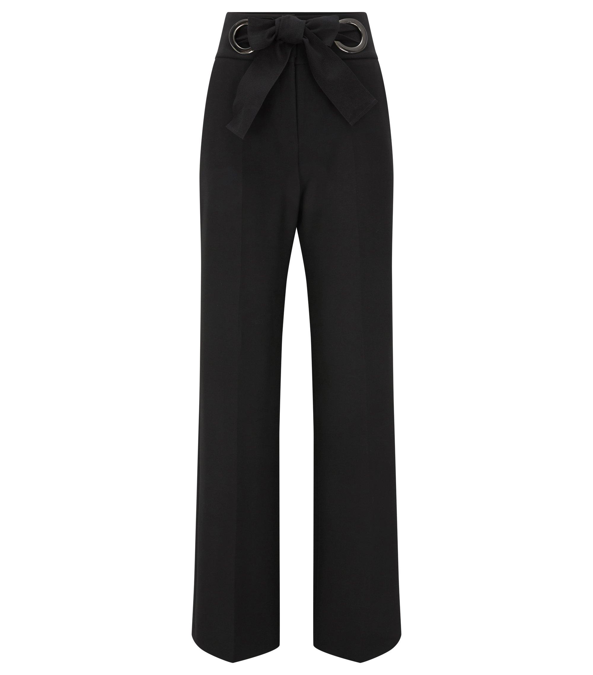 Pantalon Relaxed Fit fermé par un nœud, Noir