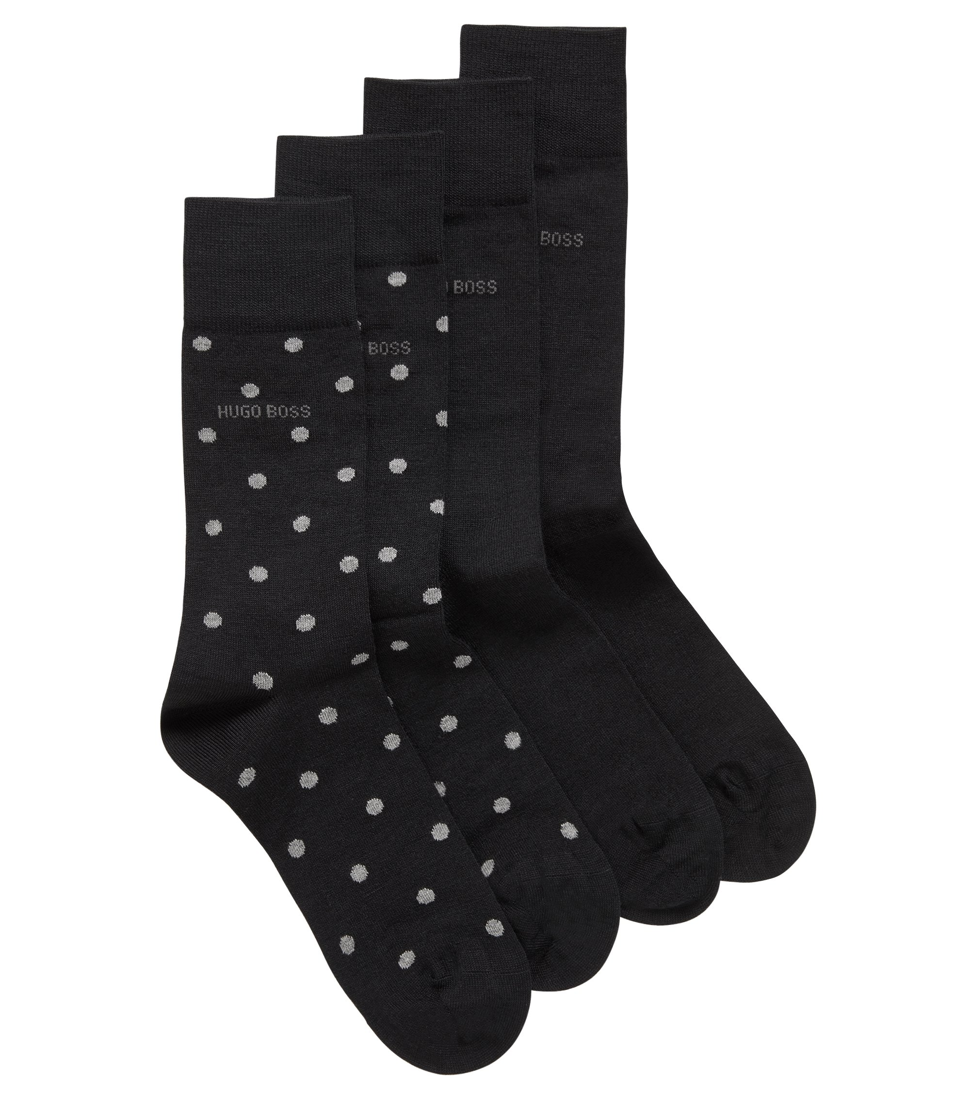 Two-pack of regular-length socks in a Merino wool blend, Black