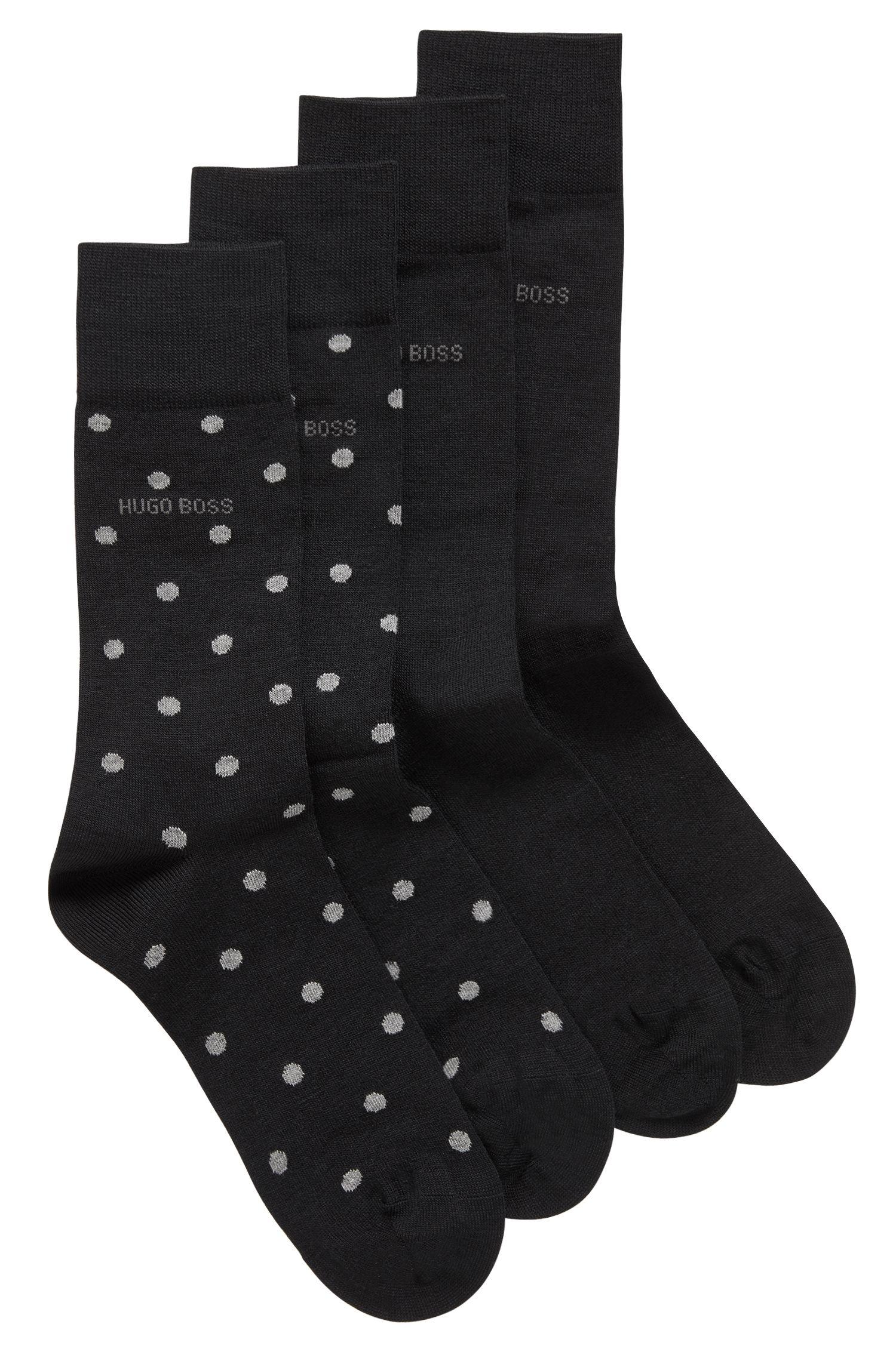 Paquete de 2 pares de calcetines de largo normal en mezcla de lana de merino, Negro