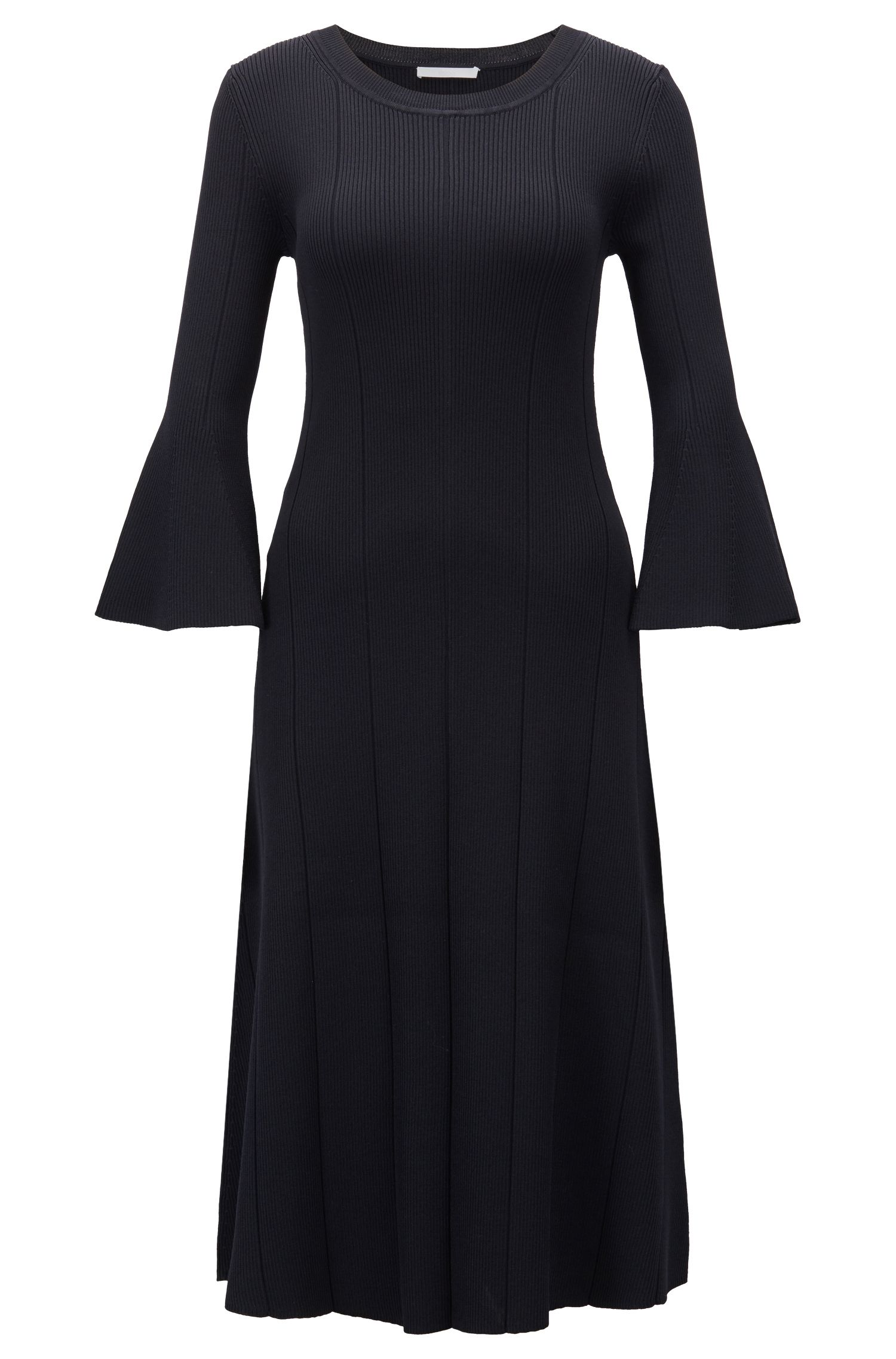 Slim-fit dress with ribbed structure and flared sleeves, Dark Blue
