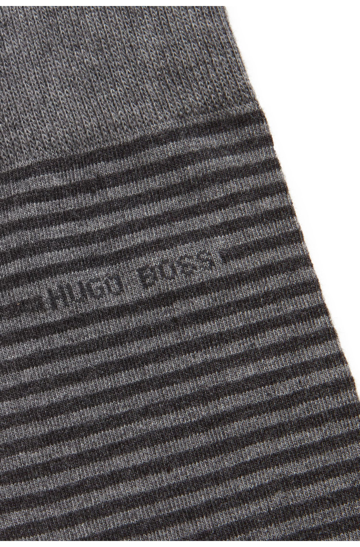 Regular-length striped socks in combed stretch cotton, Grey