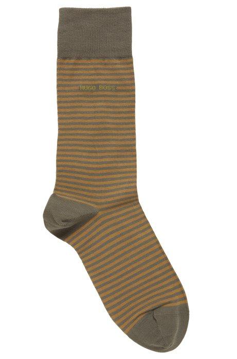 Chaussettes mi-mollet à rayures, en coton peigné stretch, Vert sombre
