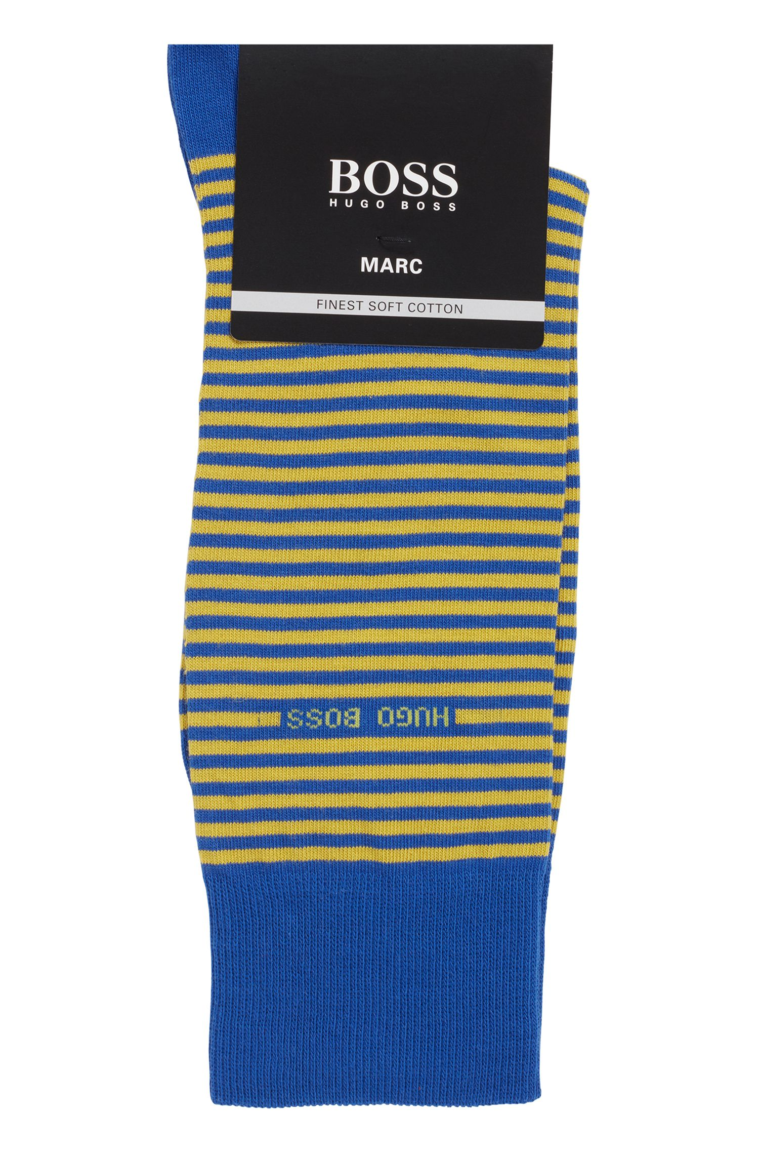 Gestreepte sokken van gekamde stretchkatoen met normale lengte, Blauw