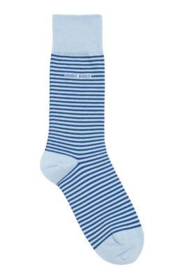 Gestreepte sokken van gekamde stretchkatoen met normale lengte, Lichtblauw