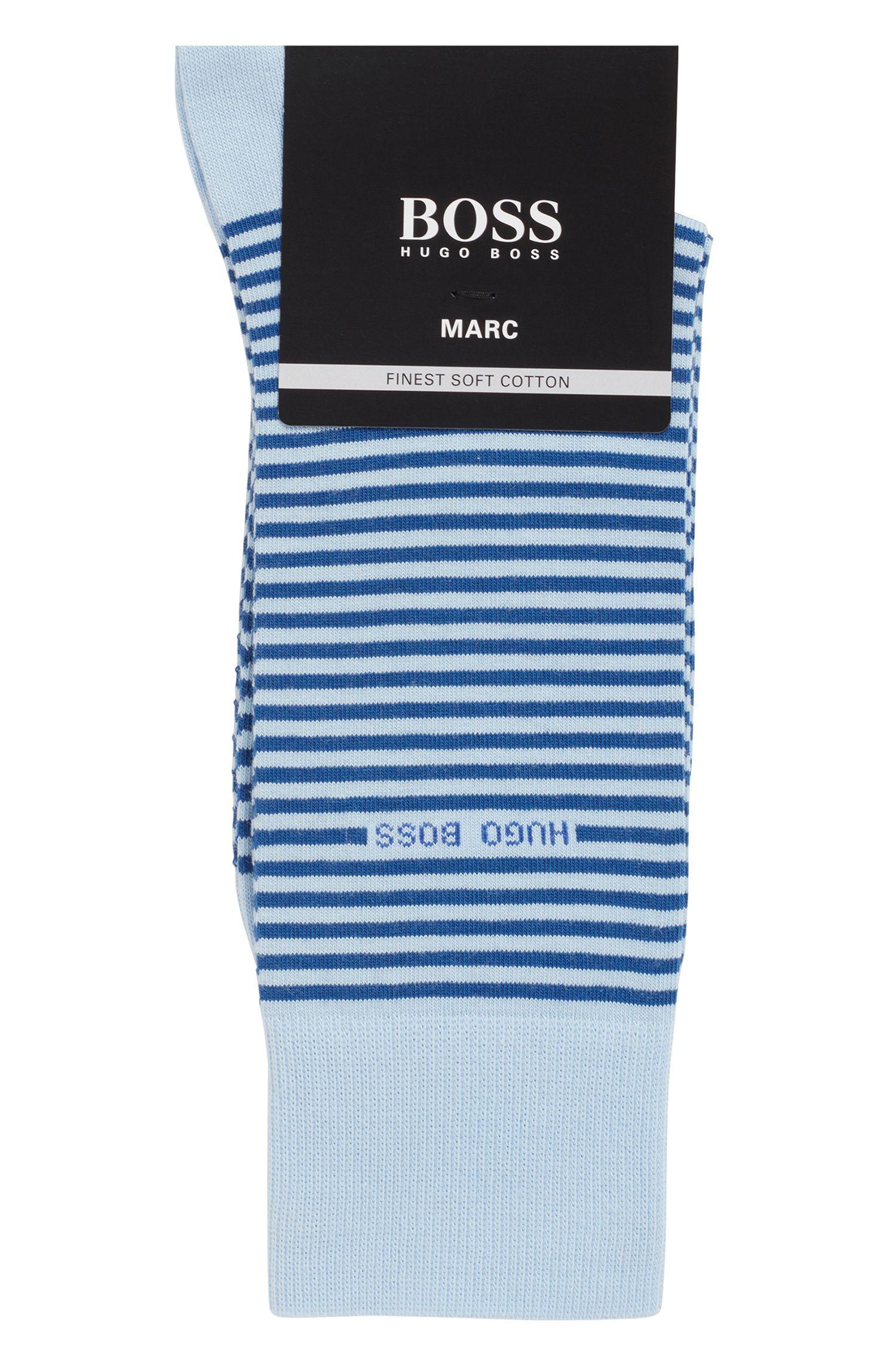 Chaussettes mi-mollet à rayures, en coton peigné stretch, Bleu vif