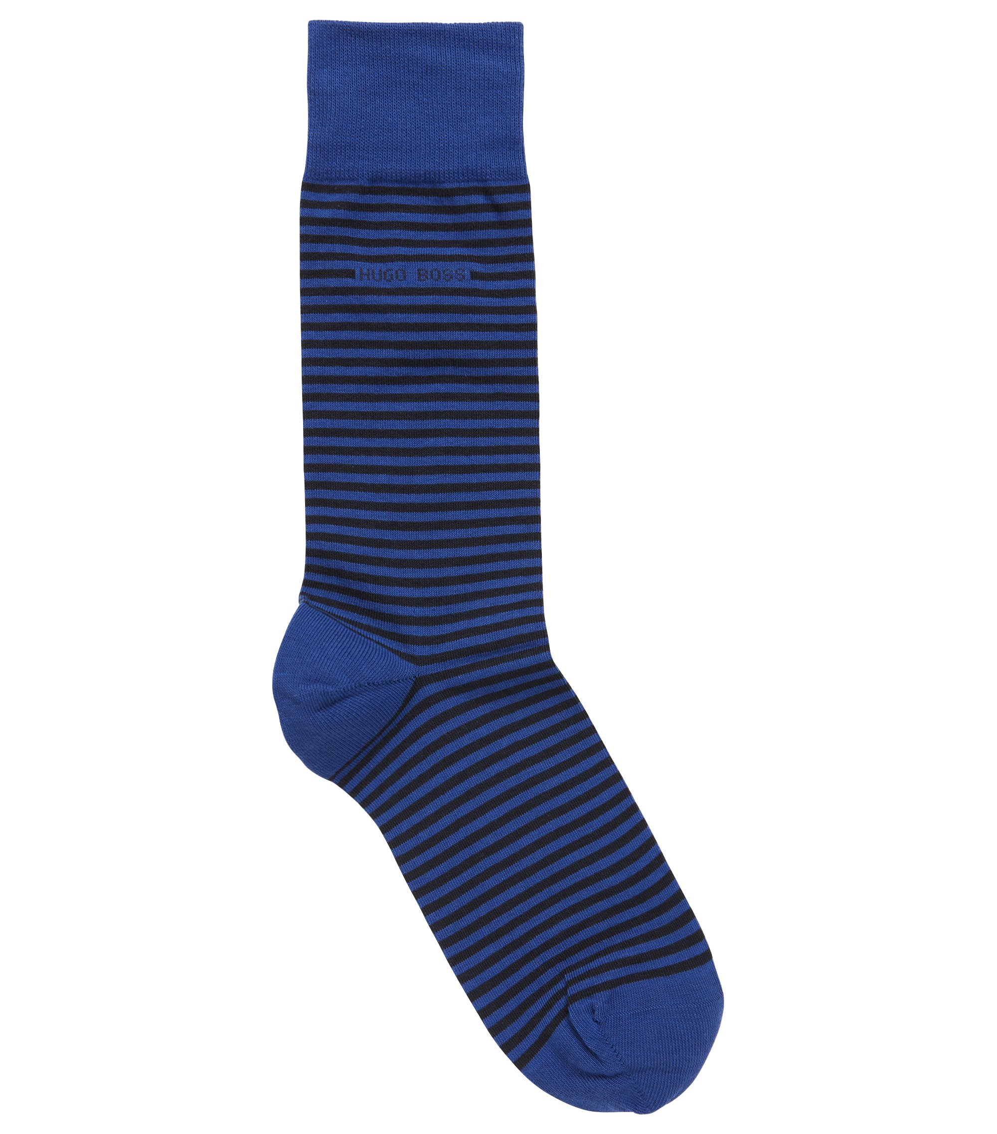 Regular-length striped socks in combed stretch cotton, Blue