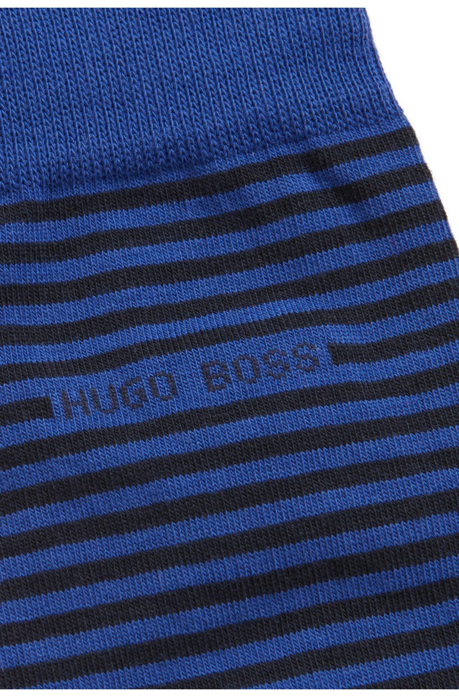 Calcetines a rayas de largo normal en algodón elástico peinado, Azul