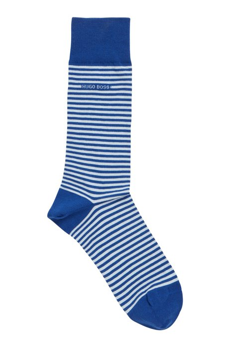 Regular-length striped socks in combed stretch cotton, Light Blue