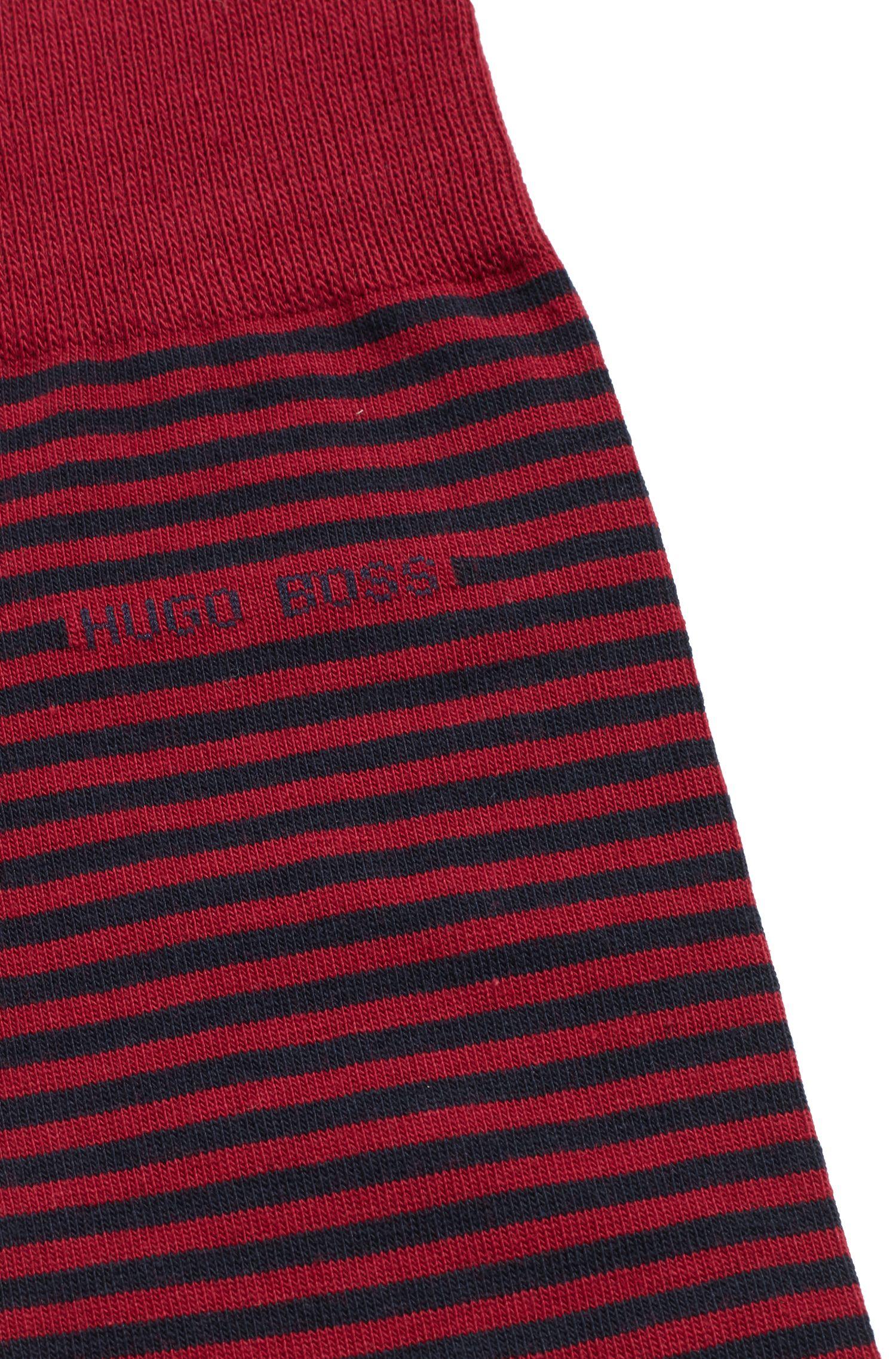 Chaussettes mi-mollet à rayures, en coton peigné stretch, Rouge sombre