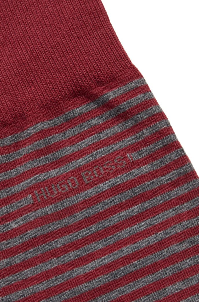 Regular-length striped socks in combed stretch cotton