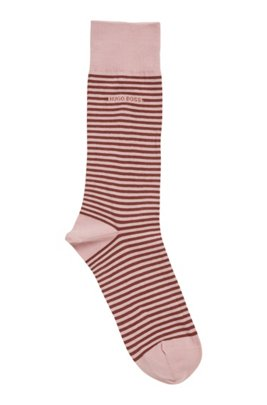 Regular-length striped socks in combed stretch cotton, light pink