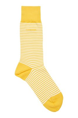 Regular-length striped socks in combed stretch cotton, Yellow Patterned