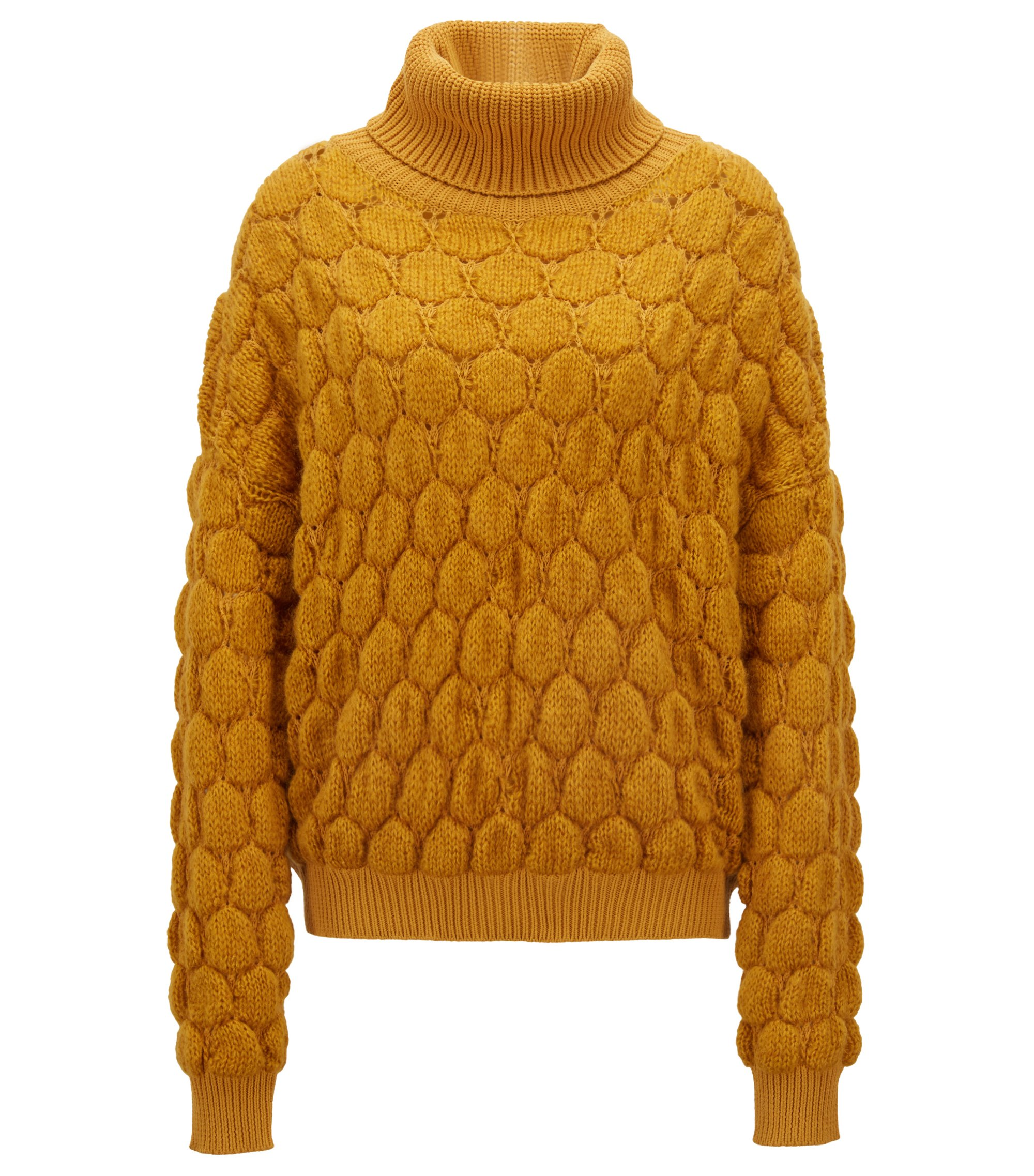 Relaxed-fit roll-neck sweater with bubble structure , Gold