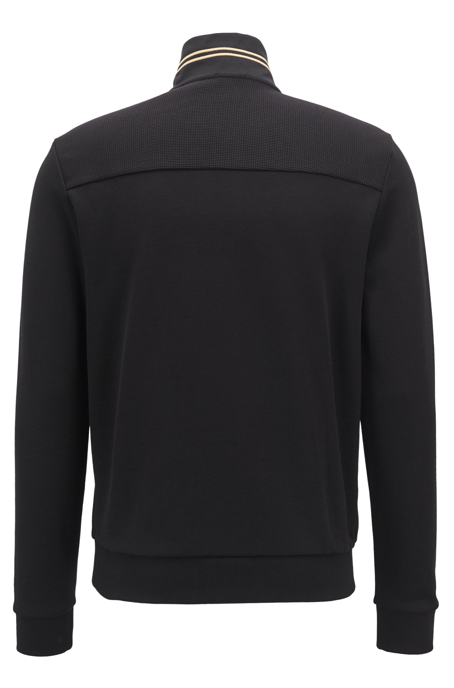 Zip-neck sweatshirt with striped artwork and contrast panels, Black