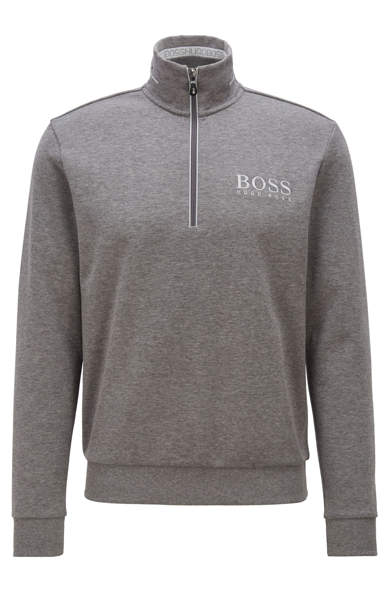 Zip-neck sweatshirt with striped artwork and contrast panels, Grey