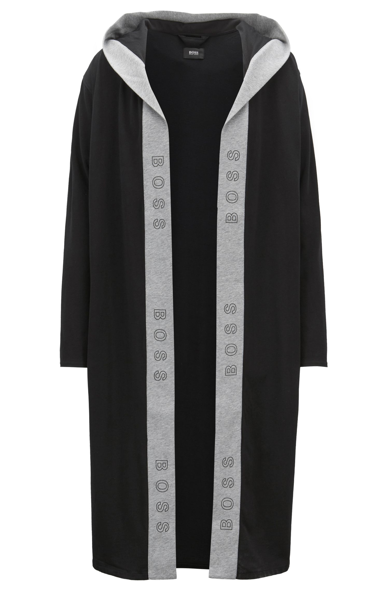 Hooded dressing gown in heavyweight jersey with logo-print trim, Black