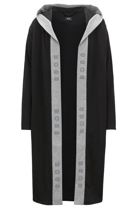 BOSS - Hooded dressing gown in heavyweight jersey with logo-print trim