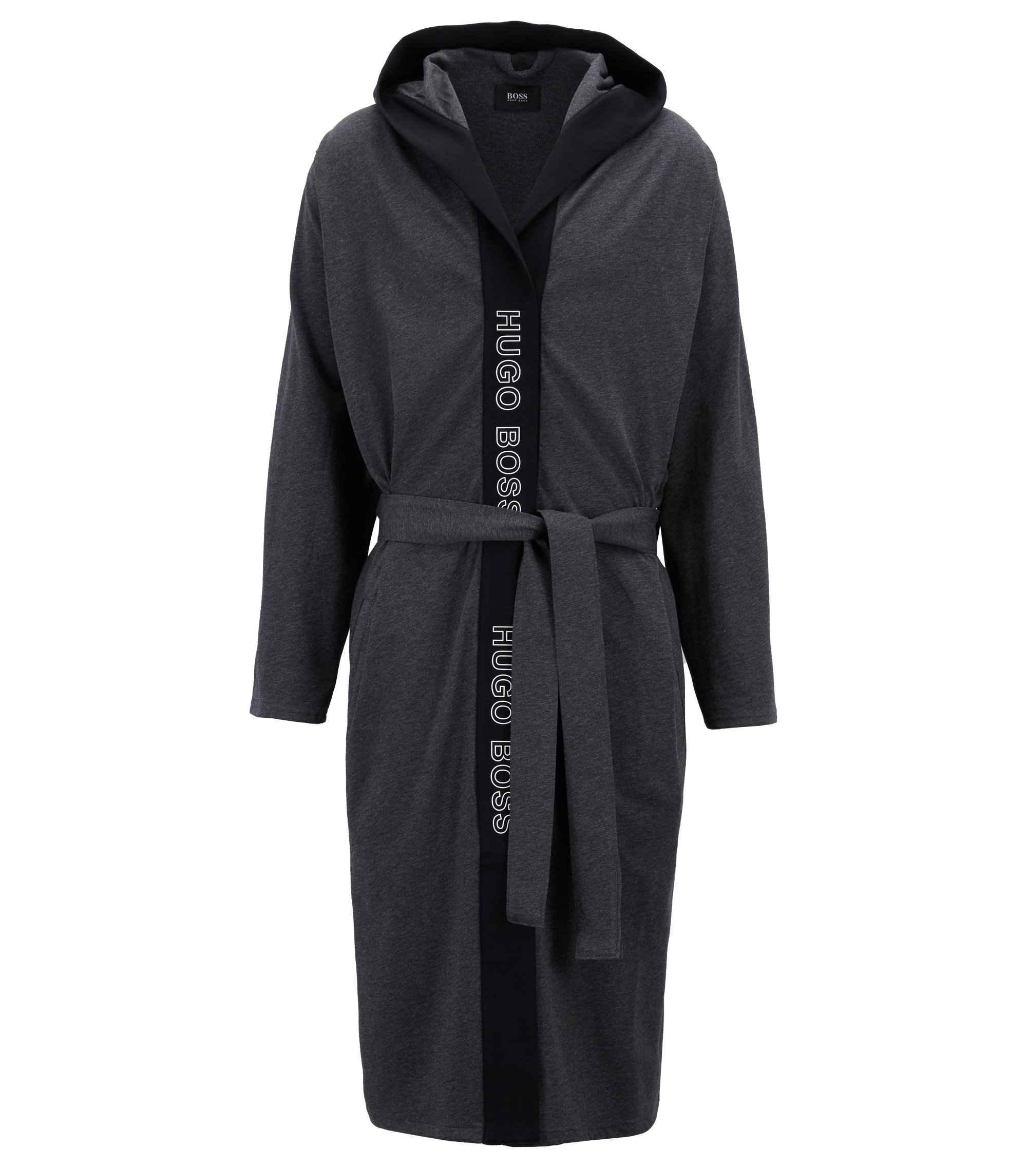 Hooded dressing gown in heavyweight jersey with logo-print trim, Grey