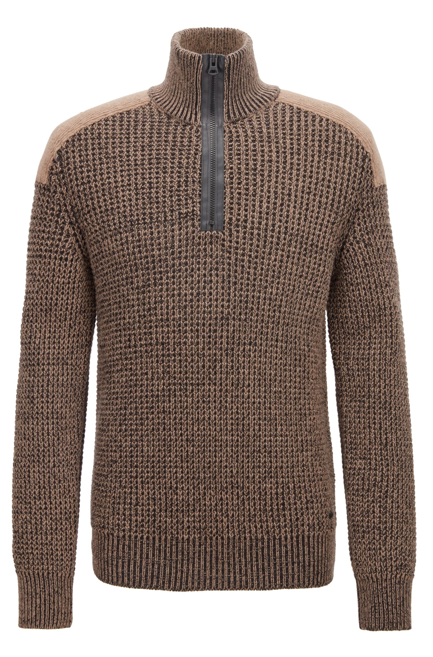 Knitted zip-neck sweater with contrast shoulder patch, Brown