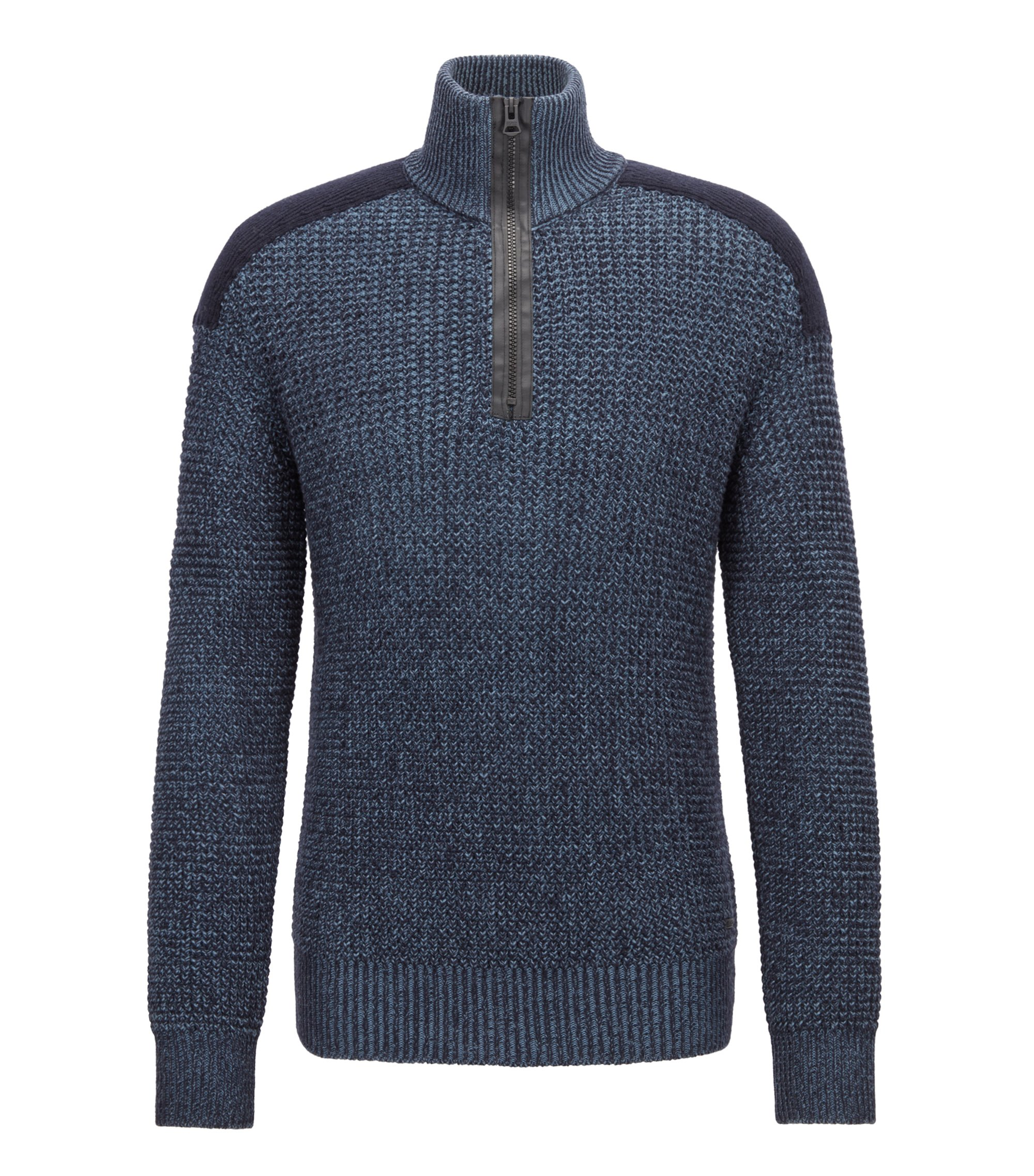 Knitted zip-neck sweater with contrast shoulder patch, Dark Blue